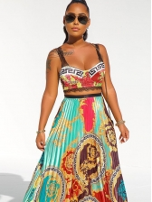 National Print Crop Cami With Pleated Maxi Skirt