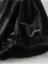 Velvet v Neck Short Sleeve One Piece Dress