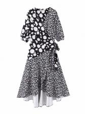 High Low Printed Patchwork Wrap Maxi Dress