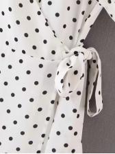 Dot V Neck Short Sleeve Wrap Dress