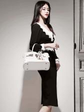 Patchwork V Neck Black Long Sleeve Dress