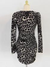 Long Sleeve Leopard Printed Bodycon Dress
