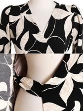 Printed Long Sleeve Wrap Dress