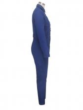 Single-Breasted Turndown Collar Denim Jumpsuit