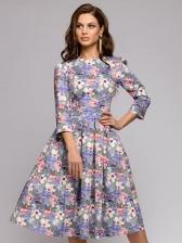Stylish Crew Neck Long Sleeve Floral Dress
