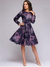 Vintage Print Long Sleeve a Line Dress