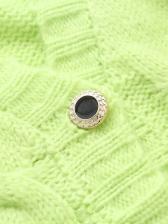 V Neck Single-Breasted Green Knit Cardigan