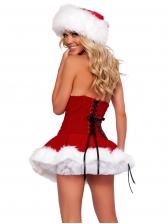 Bandage Fluffy Hem Strapless Christmas Dress