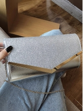Elegant Rectangle Glitter Clutch Bag With Golden Chain