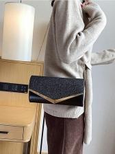 Elegant Rectangle Glitter Clutch Bag With Golden Chain