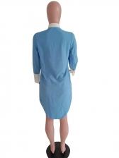 Color Block Irregular Long Ladies Blouse