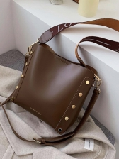 Rivets Letter Wide Belt Over The Shoulder Bags