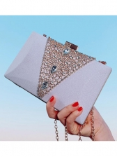 Rectangle Ladies Rhinestone Clutch Bag With Chain