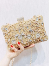 Metal Splicing Rhinestone Clutch Bag With Chain