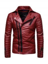 Motorcycle Zip Up Solid Men Jacket