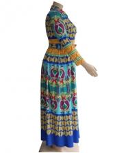 Vintage Printed Shirt Long Sleeve Maxi Dress