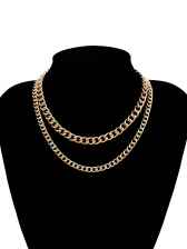 Simple Design Double-Layer Golden Chain Necklace