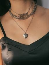 Fashion Multi-Layer Letter Heart Pendant Chain Necklace