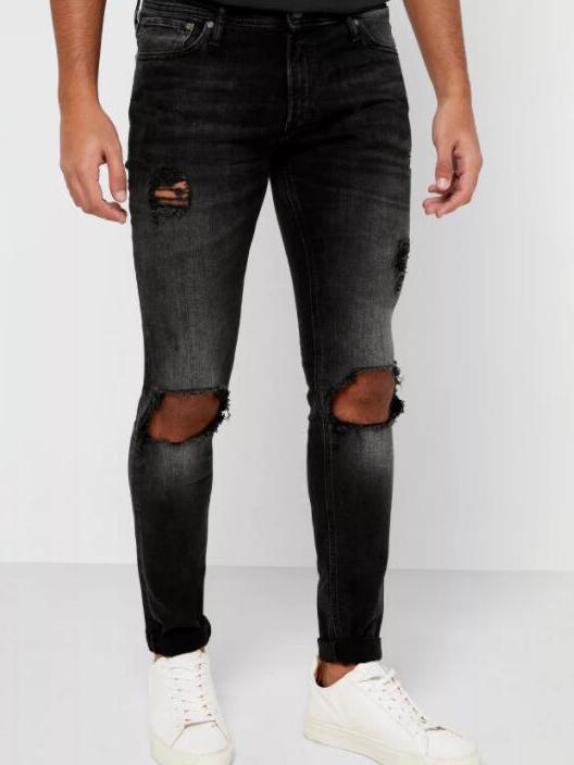 Vintage Straight Black Men Ripped Jeans