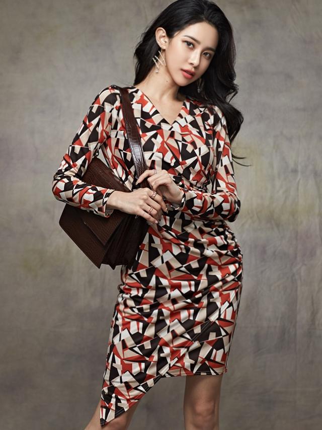 Modern v Neck Printing Long Sleeve Dress