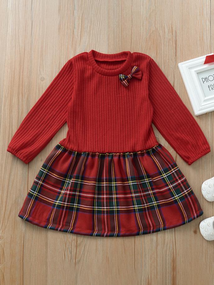 Plaid Long Sleeve Girls Casual Dresses
