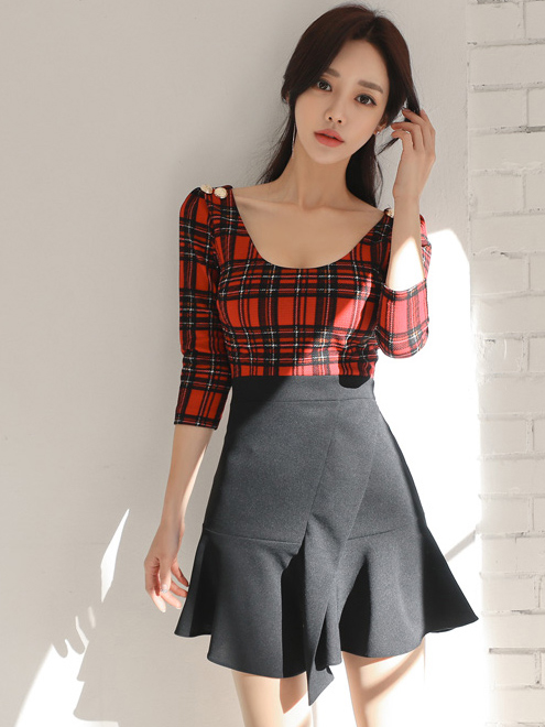 Plaid Patchwork Fitted One Piece Dress