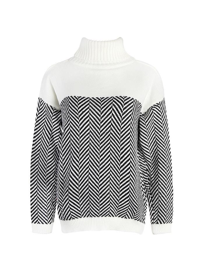 Contrast Color Striped Turtleneck Sweater For Women