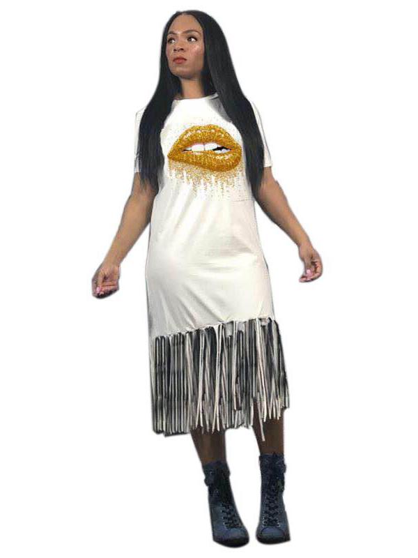 Golden Lips Tassel Short Sleeve Casual Dress