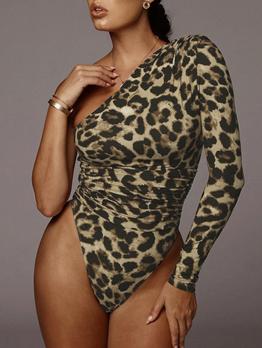 Inclined Shoulder Single Sleeve Leopard Print Bodysuit