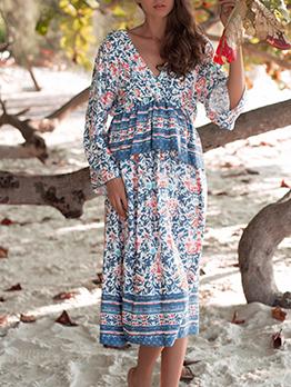 Floral Deep V Long Sleeve Summer Dress