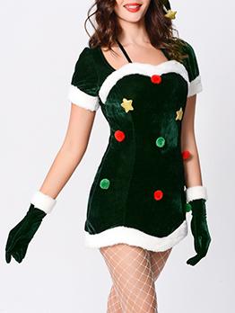 Mini Halter Neck Short Sleeve Christmas Dress