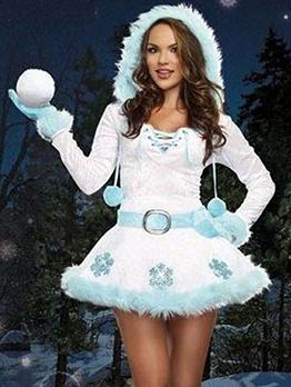 Hooded Snowmen Cosplay Long Sleeve Dress