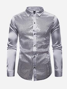 Night Club Sequins Patchwork Cute Shirts