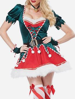 Fur Ball Decor Christmas Skirt And Top Two Piece Set