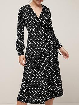 Dot Chiffon Long Sleeve Wrap Dress