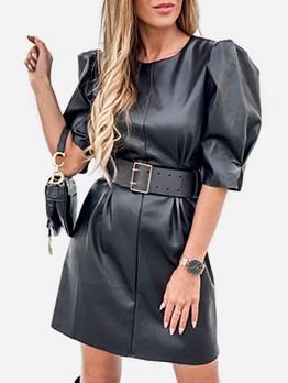 Crew Neck Puff Sleeve Leather Black Dress