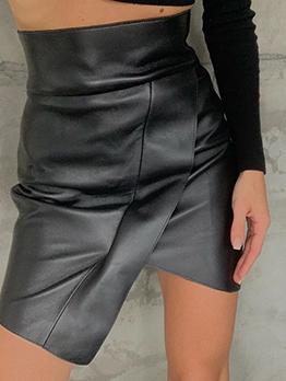 Irregular Design High Waist All Black Leather Skirt