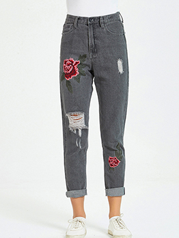 High Waist Rose Embroidery Ripped Jeans