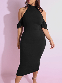Cold Shoulder All Black Short Sleeve Dress