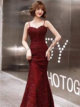 Glitter Sleeveless Long Evening Dress