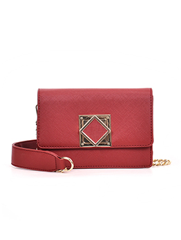 Square Metal Hasp Chain Crossbody Shoulder Bag
