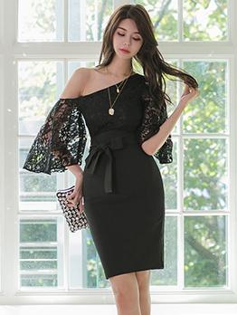Inclined Shoulder Lace Patchwork Black Dress