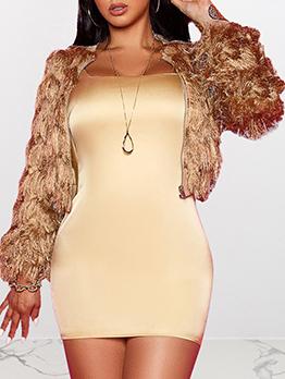 Fashion Solid Zipper Up Short Fur Coat