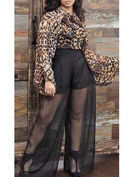 Leopard Backless Gauze Patchwork Wide Leg Jumpsuit