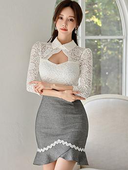 Lace Patchwork Keyhole Ruffled Long Sleeve Dress