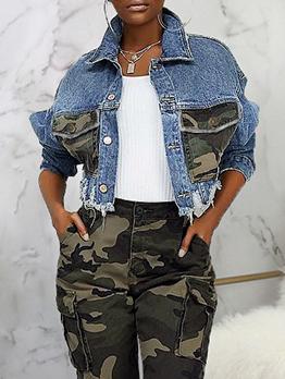 Trendy Camouflage Pocket Ripped Denim Jacket