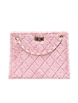 Square Twist Lock Rhombus Plush Chain Shoulder Bag