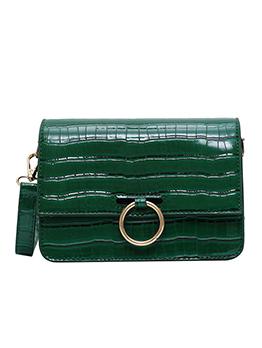 Stone Grain Solid Color Ring Hasp Shoulder Bags
