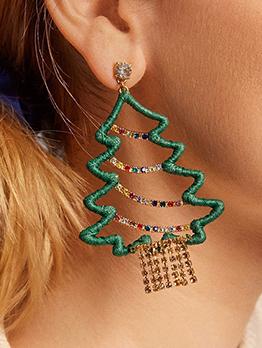 Creative Colored Rhinestone Christmas Tree Drop Earrings
