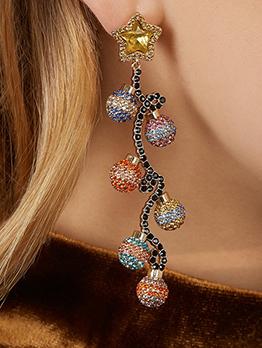 Creative Colored Rhinestone Drop Earrings